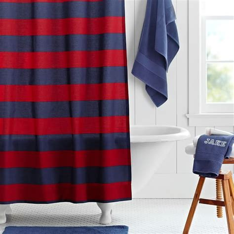 rugby stripe curtains rugby stripe shower curtain navy red pbteen