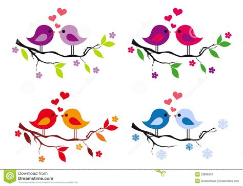 cute simple tree designs free clip art cute birds with red hearts on tree vector set stock