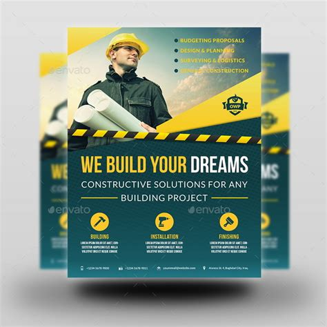 construction flyer templates free construction advertising bundle vol 4 by owpictures