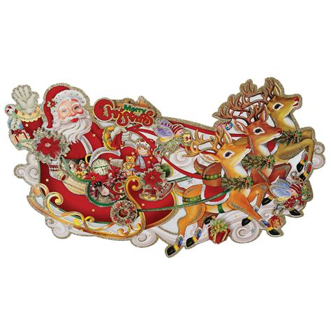 traditional paper christmas decorations dotcomgiftshop santa s sleigh traditional 3d paper wall decoration ebay