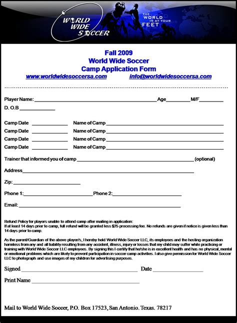 soccer registration form template downloadable forms