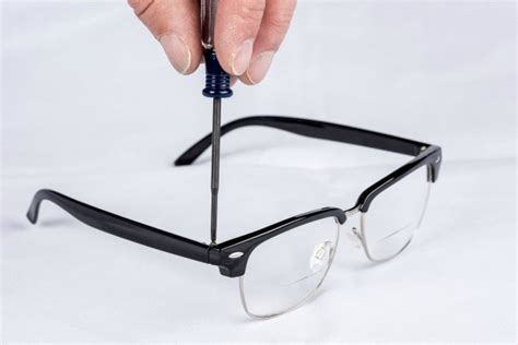 use clear nail to secure screws on glasses