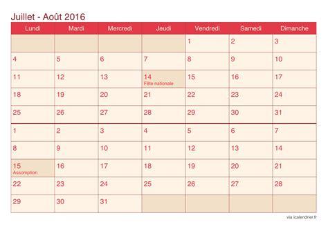 Calendrier Septembre 2016 Aout 2017 Calendrier Juillet Et Ao 251 T 2016 224 Imprimer Icalendrier
