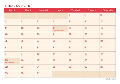 Calendrier De Calendrier Juillet Et Ao 251 T 2016 224 Imprimer Icalendrier Fr