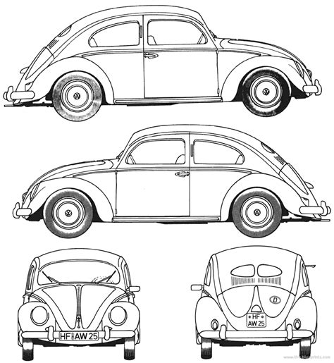 volkswagen bug drawing volkswagen beetle 1952 blueprints pinterest