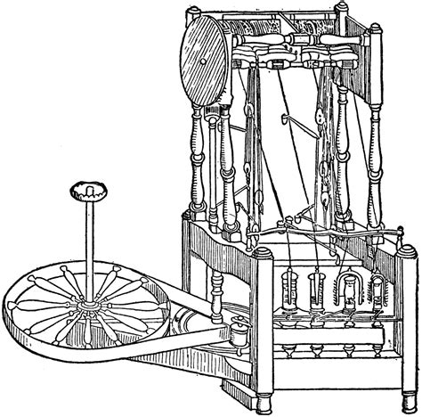 water frame diagram arkwright s spinning machine clipart etc