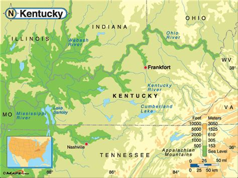 kentucky geography map kentucky map