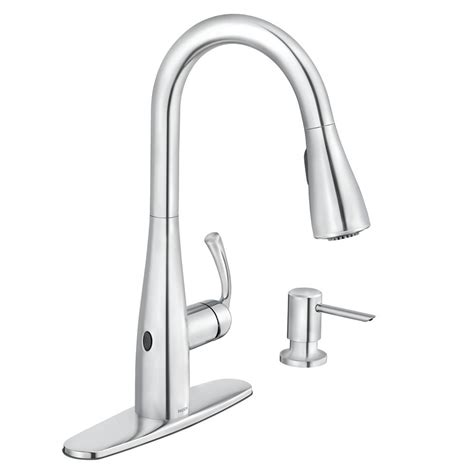 kitchen faucet touchless moen essie touchless single handle pull sprayer