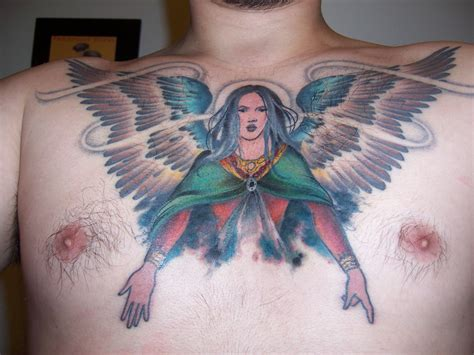angel chest tattoo chest images designs
