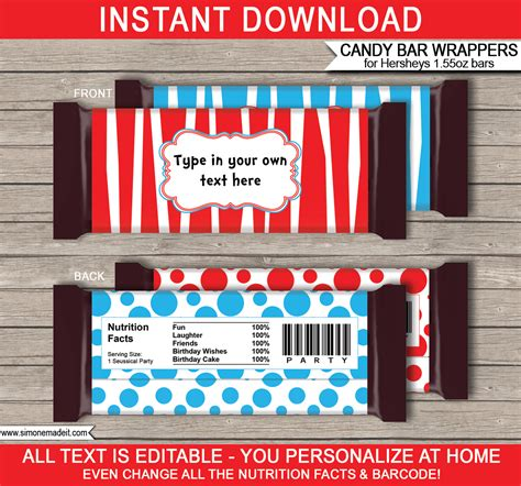 Dr Seuss Hershey Candy Bar Wrappers Personalized Candy Bars Wrapper Labels Templates