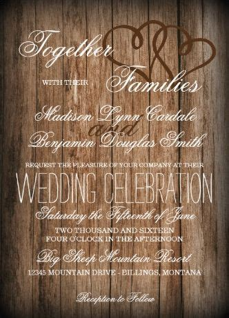 rustic country hearts barn wood wedding invitations two sided your choice of paper