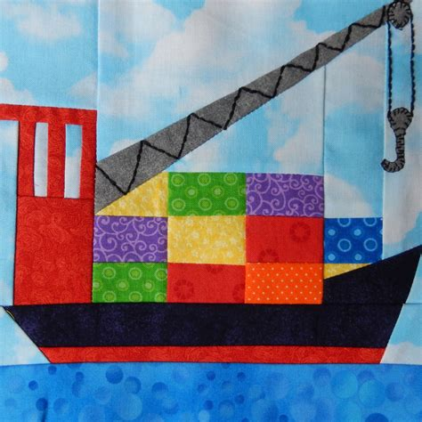 cargo ship paper pieced pdf quilt block pattern baby