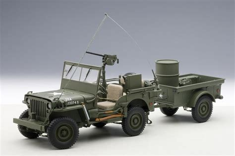 Jeep Trailer Cer Autoart Schaal 1 18 Jeep Willys Mb Usa Army 1941 With