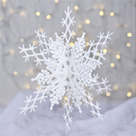 iridescent white glitter interlocking snowflake ornament