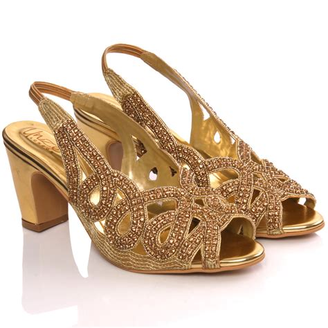 gold sandals for wedding unze womens tara embellished bridal wedding sandals size 3