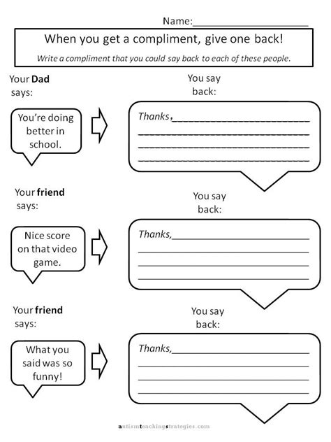 Therapy Worksheets by Helping With Asperger S To Give Compliments