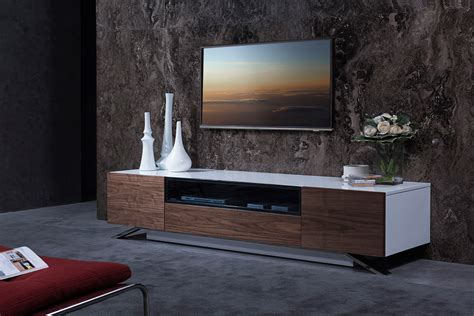 Modrest Gillian Contemporary White & Walnut TV Stand