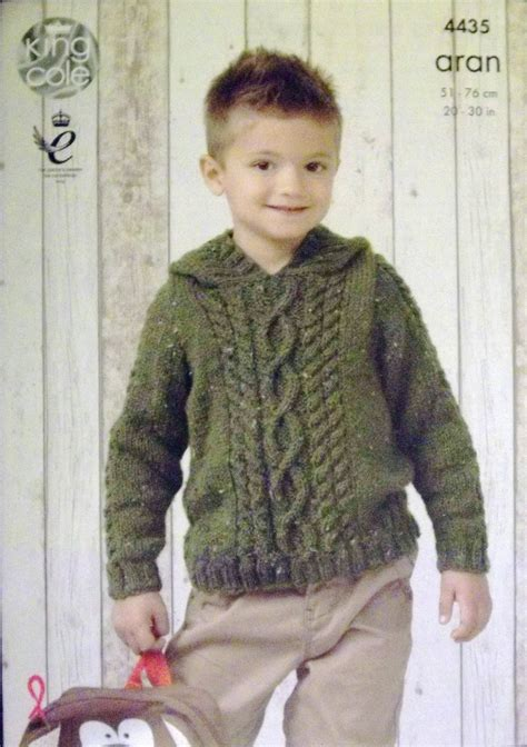 king cole aran knitting patterns king cole aran knitting pattern childs hoodie and slipover