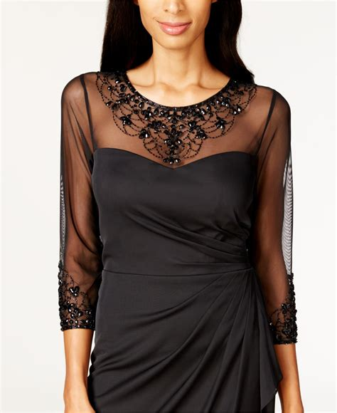 patra matte chiffon beaded dress in black lyst