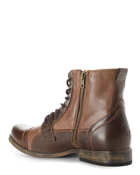 steve maddens boots steve madden brown triggah cap toe boots in brown for