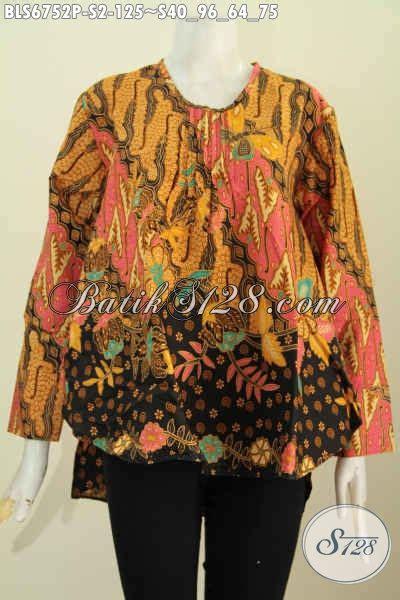pakaian batik atasan wanita model panjang belakang blus