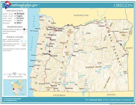 map of oregon landforms united states geography for oregon