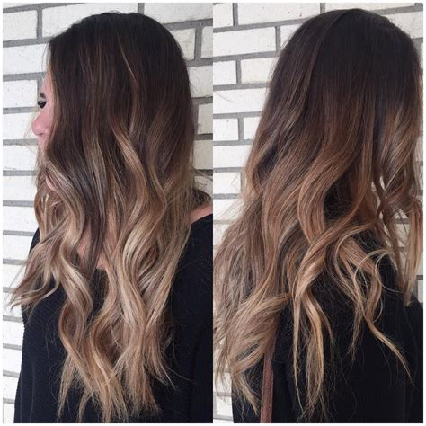 ombre bunette blonde brunette on bottom dark brown hair with dusty rosy dark blonde balayage