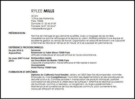Resume Experience Samples by Cv Femme De Menage Et Gouvernante Exemple Cv Femme De