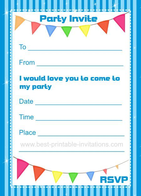 birthday card template 11 year boy birthday invitations printable