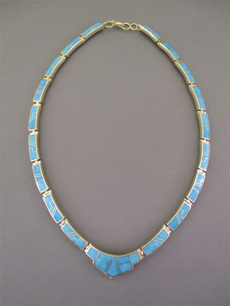 how to make inlay jewelry 14kt gold turquoise inlay necklace american gold