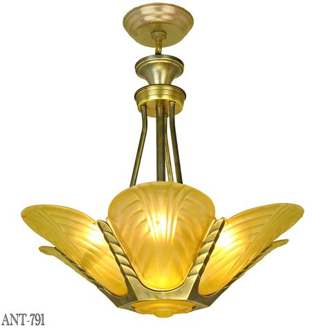 French Deco Slip Shade Chandelier Streamline Ceiling Light Deco Ceiling Light Fixtures