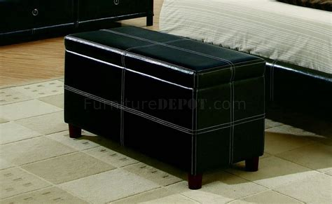 black bycast leather contemporary 5pc bedroom set w stitchings