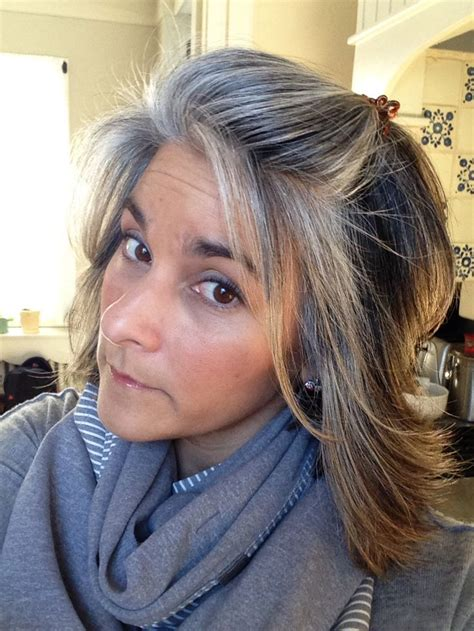 how to grow in gray hair with highlights nine months of grow out salt pepper roots blending with