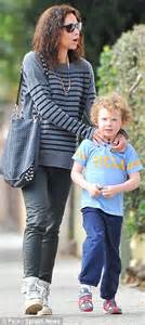 Light Grey Pants Minnie Driver Dotes On Son Henry As They Enjoy A Healthy