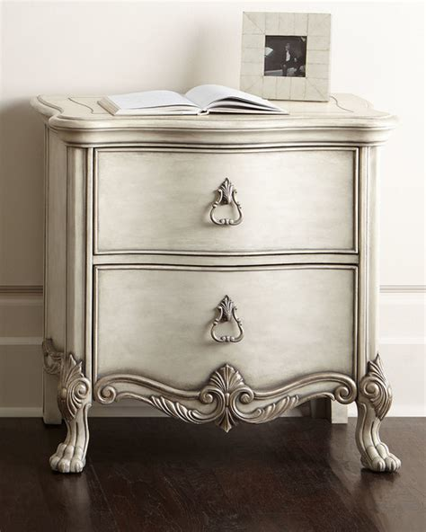 Silver Nightstand Alana Nightstand Beige Silver Contemporary