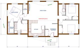 open concept floor plan 1440 sqft wing shape engineered or timber trusses
