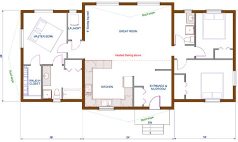 Bungalow Open Concept Floor Plans | 1440 sqft wing shape engineered or timber trusses