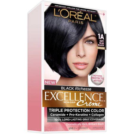 l oreal hair color 1b blue black cooler excellence creme richesse level3 ebay l oreal excellence creme hair color 1b blue black 1 kit walmart