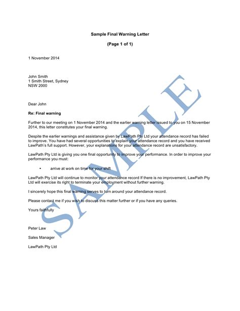 Research Misconduct Letter warning letter sle lawpath sle of warning