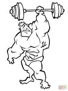 imagenes de hombres fuertes para colorear dibujo de caricatura de un hombre levantando pesas para