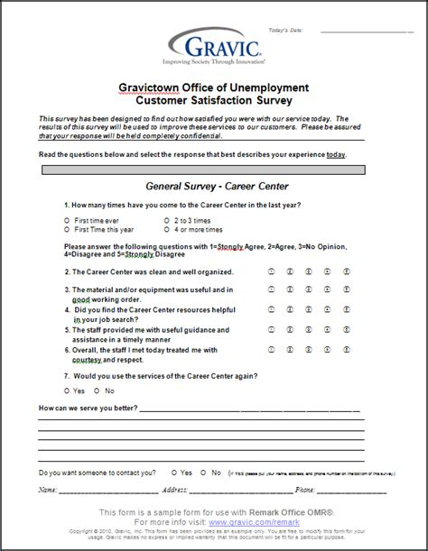 Office Of Unemployment Customer Satisfaction Survey 183 Remark Software Microsoft Word Survey Template