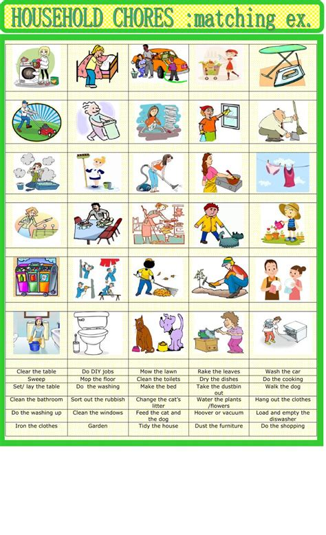 home chores household chores matching interactive worksheet