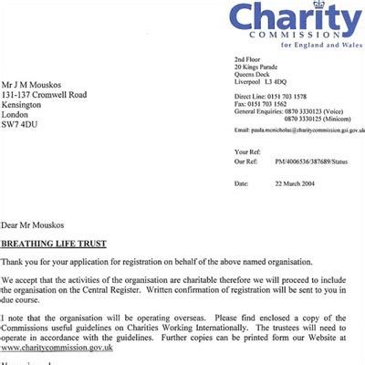 charity commission letter the breathing trust