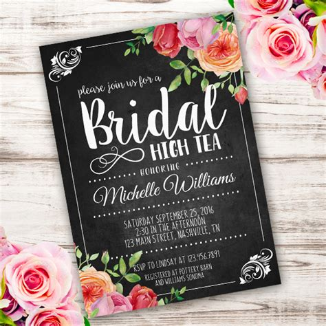 Bridal High Tea Invitation Template Edit With Adobe Readerparty Printables Bridal Tea Invitation Template
