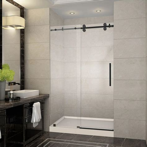 Bronze Shower Doors Frameless Aston Langham 48 In X 77 5 In Completely Frameless Sliding Shower Door In Rubbed Bronze