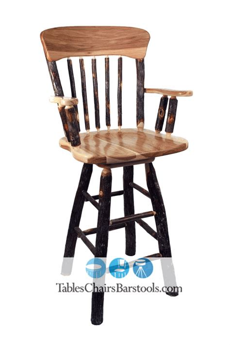 Rustic Bar Chairs by Amish Built Rustic Hickory Wood Restaurant Bar Stools