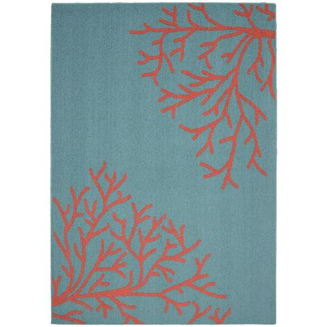 teal and coral rug garland rug sea coral teal santa fe coral 5 ft x 7 ft area rug ll580a060084s4 the home depot