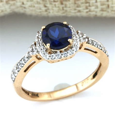Blue Sapphire 0 7 Ct 14 kt gold 1 45 ct synthetic blue sapphire 0 45ct synthetic white sapphire ring size 7