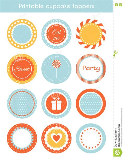 vector set of printable cupcake toppers labels stock