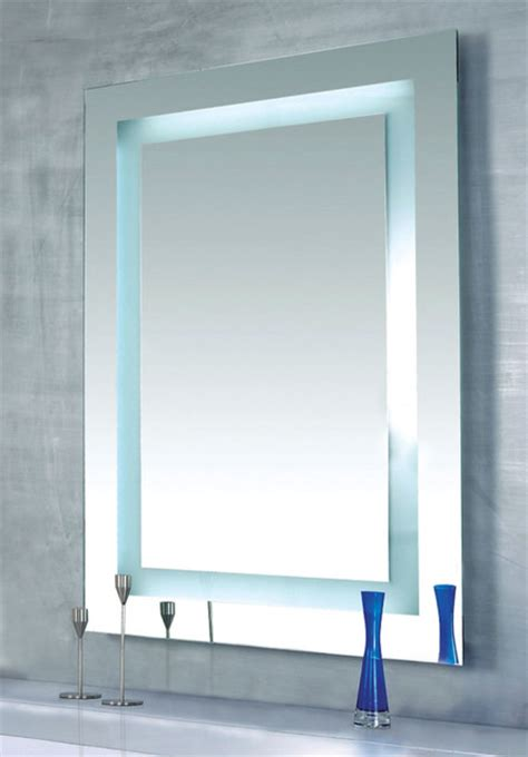 Modern Bathroom Mirror Lighting Plaza Dimmable Lighted Mirror By Edge Lighting Contemporary Bathroom Mirrors Other Metro